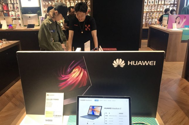 Huawei equipment is seen at a store in Beijing, China, on August 21, 2019. The change Tuesday will delay Britain's 5G rollout by a few years and increase the cost by as much as $2.5 billion. File Photo by Stephen Shaver/UPI