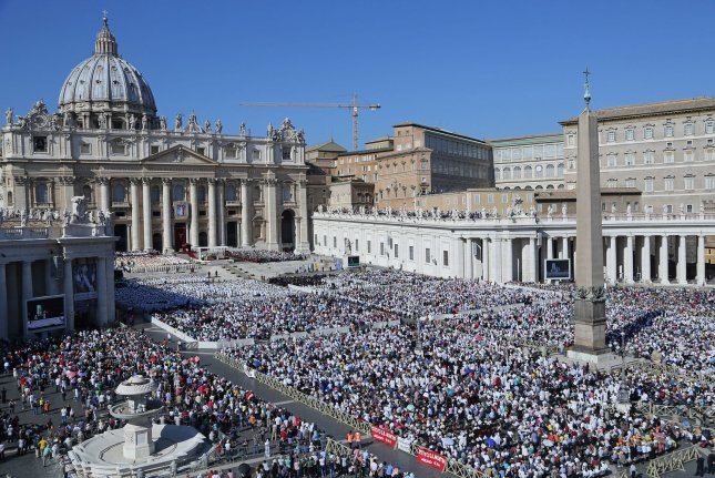 The Vatican said it received a ransom note demanding $108,000 for the return of a stolen letter written by Michelangelo. The Renaissance artist was responsible for designing St. Peter's Basilica, pictured. File photo by David Silpa/UPI