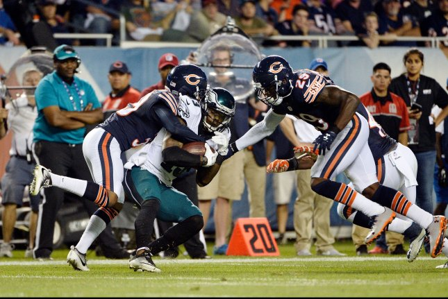 Chicago Bears cornerback Jacoby Glenn (L) and strong safety Harold Jones-Quartey (R) stop Philadelphia Eagles wide receiver Josh Huff for no gain on a screen pass during the second quarter at Soldier Field in Chicago on September 19, 2016. Photo by Brian Kersey/UPI