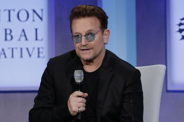 Bono speaks at the Clinton Global Initiative at the Sheraton Hotel in New York City on September 19. Bono is teaming up with Jimmy Kimmel for a special episode of Kimmel's late night show in honor of World AIDS Day. File Photo by John Angelillo/UPI