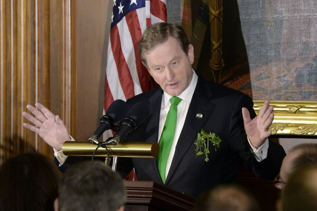 Irish Prime Minister Enda Kenny speaks during a luncheon in Washington, D.C., in March. Kenny announced Wednesday he will step down as prime minister, a decision that could trigger national elections. Pool Photo by Olivier Douliery/UPI/File