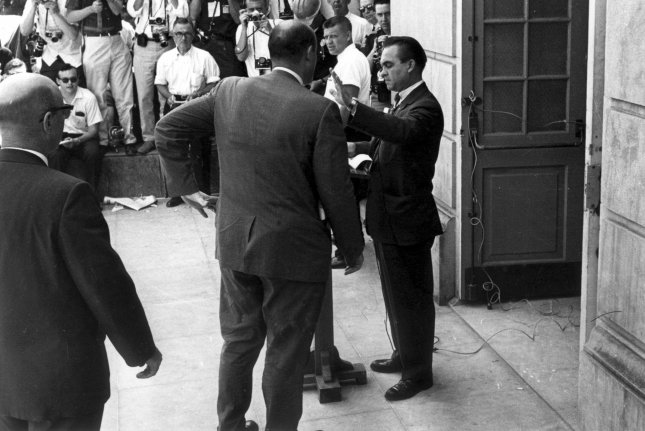 Alabama Governor George Wallace, seen here in June 1963 when he blocked two black students from enrolling in the all-white University of Alabama. On June 20, 1967, the American Independent Party was formed to back George Wallace of Alabama for president. UPI File Photo