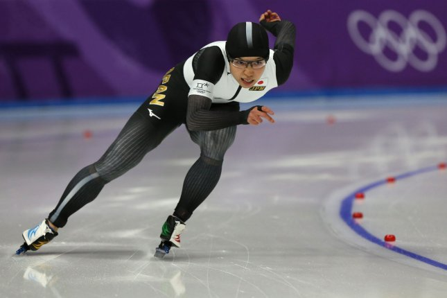 Nao Kodaira of Japan powers her way to winning the gold medal and setting a new Olympic record of women's 500m speed skating with a time of 36.94 seconds during the finals of the women's 500m speed skating Sunday at the Gangneung Oval in Gangneung, South Korea. Photo by Andrew Wong/UPI