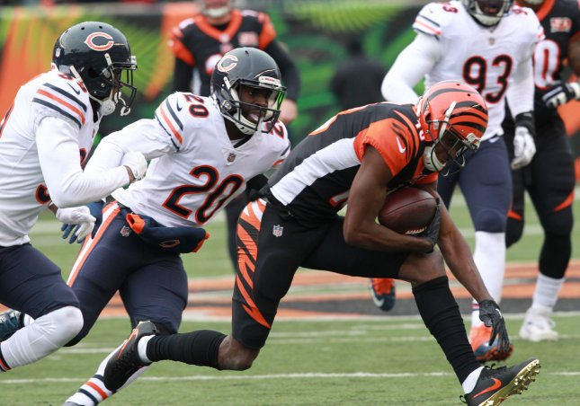 Chicago Bears defensive back Prince Amukamara chases down Cincinnati Bengals wide receiver A.J. Green during their game in December. Photo by John Sommers II /UPI