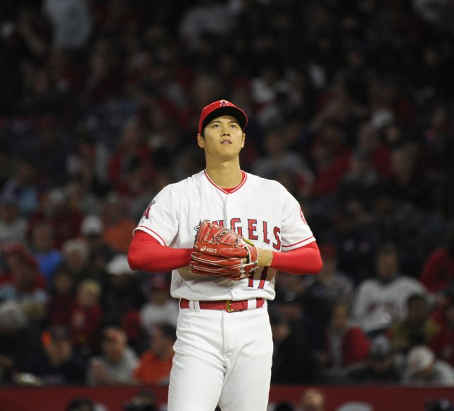 Shohei Ohtani and the Los Angeles Angels face the New York Yankees on Sunday. Photo by Lori Shepler/UPI