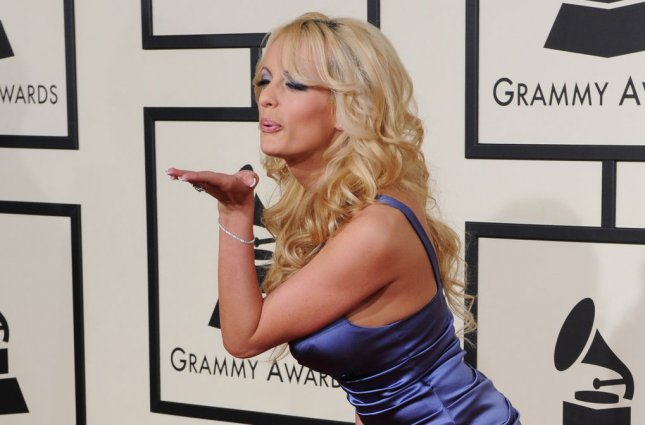 Stormy Daniels arrives for the Grammy Awards in Los Angeles in 2008. File Photo by Jim Ruymen/UPI