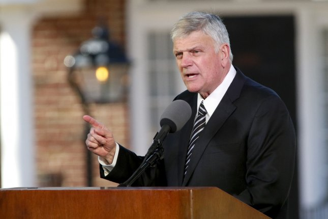 Franklin Graham, son of the Rev. Billy Graham, speaks at his father's funeral at the Billy Graham Library in Charlotte, N.C., on March 2, 2018. File  Photo by Nell Redmond/UPI