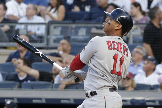 Boston Red Sox third baseman Rafael Devers leads Major League Baseball with 158 hits and 43 doubles this season. He leads the American League with 93 RBIs and 279 total bases. Photo by John Angelillo/UPI