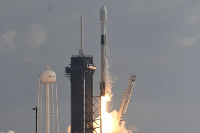 A SpaceX Falcon 9 rocket, like the one that lifted off Sunday, launches a classified payload for the National Reconnaissance Office from Kennedy Space Center in Florida on December 19. File Photo by Joe Marino/UPI