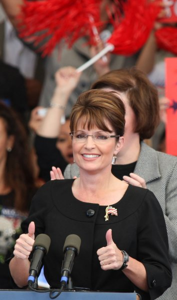 Republican vice presidential candidate Sarah Palin campaigns at a rally in Henderson, Nevada on October 21, 2008. The Alaska Governor appeared earlier in the day tin Reno as the GOP pursues Nevada's five electoral votes in the hotly contested swing state. (UPI Photo/Daniel Gluskoter)