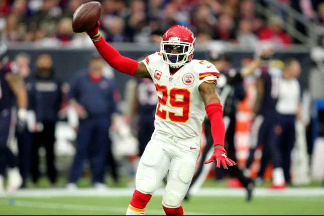 Kansas City Chiefs strong safety Eric Berry (29) holds up the ball after an interception in the first quarter of their NFL Wild Card Round game at NRG Stadium on January 9, 2016 in Houston. Photo by Erik Williams/UPI