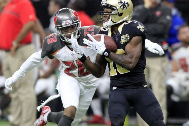 Former New Orleans Saints wide receiver Brandin Cooks (10) pulls in a pass for 42 yards late in the third quarter against Tampa Bay Buccaneers cornerback Vernon Hargreaves on December 24, 2016 at the Mercedes-Benz Superdome in New Orleans. File photo by AJ Sisco/UPI
