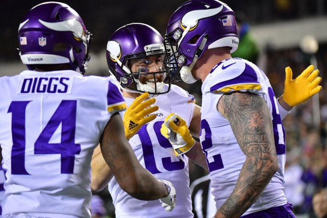 Minnesota Vikings wide receiver Adam Thielen (C) will miss his third consecutive game after being ruled out for Monday night. File Photo by Kevin Dietsch/UPI
