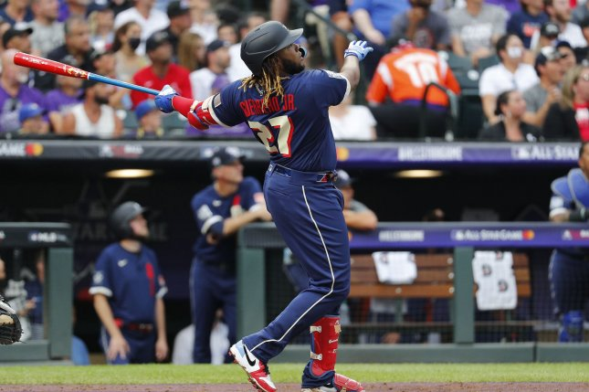 Toronto Blue Jays star Vladimir Guerrero Jr. of the American League hits a solo home run in the third inning during the 2021 MLB All-Star Game on Tuesday at Coors Field in Denver. Photo by Bob Strong/UPI