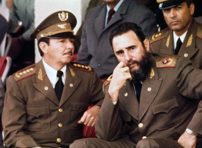 Fidel Castro (R) and his brother Raul Castro, leader of the Cuban Armed Forces, are pictured in Havana in a February 23, 1977 photo. (UPI Photo/FILE)