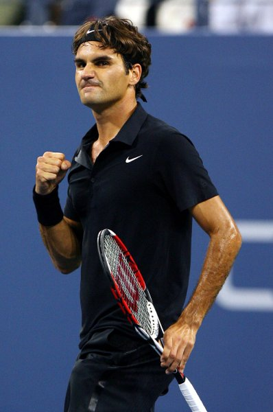 Roger Federer pumps his fist after winning the first set in his quarter final match against Andy Roddick on day10 at the U.S. Open in New York City on September 5, 2007. (UPI Photo/John Angelillo) .
