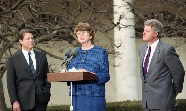 U.S. President Bill Clinton (R) and Vice President Al Gore listen as Janet Reno, then-nominee for the position of attorney general, speaks at the White House on February 11, 1993. Reno served as attorney general from 1993 to 2001, and died Monday at 78 of complications from Parkinson's disease. UPI Photo