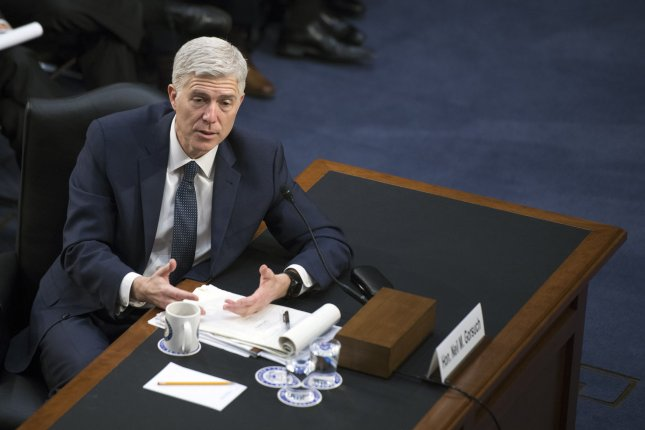 Supreme Court Justice nominee Neil Gorsuch testifies during the third day of his confirmation hearing before the Senate Judiciary Committee on Capitol Hill in Washington, D.C. on Wednesday. Photo by Kevin Dietsch/UPI