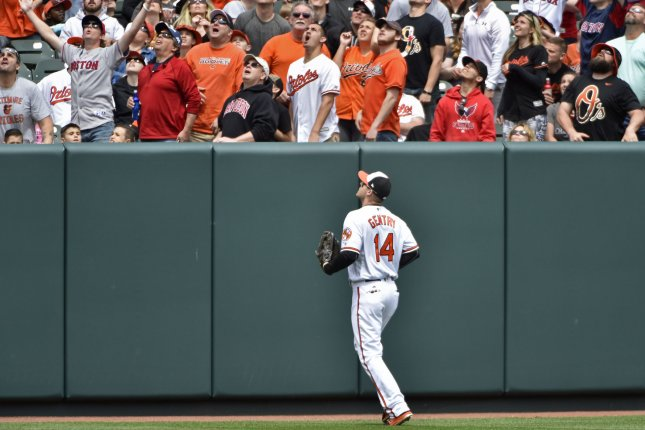 Baltimore Orioles left fielder Craig Gentry watches a solo home run. File photo by David Tulis/UPI