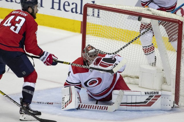 Carolina Hurricanes goaltender Petr Mrazek (34) is unlikely to play in Game 3 against the New York Islanders on Wednesday night. Photo by Alex Edelman/UPI