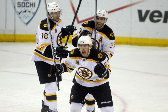Boston Bruins forward Brad Marchand (63) scored an empty-netter in the third period to clinch the Bruins' Game 1 win over the St. Louis Blues on Monday night. File Photo by Bill Greenblatt/UPI