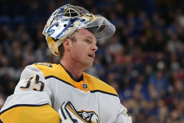 Nashville Predators star Pekka Rinne became the 12th goalkeeper in NHL history to score a goal when he lit the lamp in the final seconds of a win against the Chicago Blackhawks Thursday in Chicago. File Photo by BIll Greenblatt/UPI