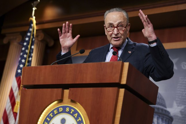 Senate Majority Leader Charles Schumer could choose to use the budget reconciliation process to avoid a GOP filibuster of President Joe Biden's $2.25 trillion infrastructure plan. File photo by Jonathan Ernst/UPI/Pool