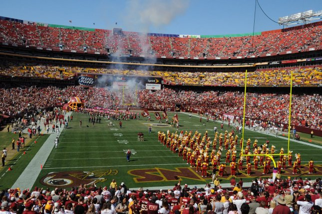 The Washington Redskins take the field before the game against the Tampa Bay Buccaneers at FedEx Field in Landover, Maryland on October 4, 2009. UPI/Alexis C. Glenn