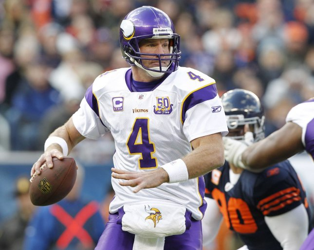 Minnesota Vikings quarterback Brett Favre drops back to pass during the first quarter against the Chicago Bears at Soldier Field in Chicago on November 14, 2010. UPI/Brian Kersey