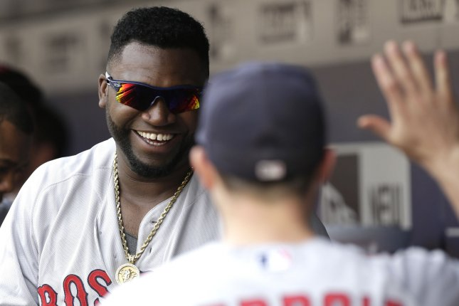 Boston Red Sox's David Ortiz smiles in the dug out. Photo by John Angelillo/UPI