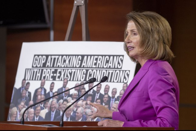 Minority Leader Nancy Pelosi speaks during her weekly press conference Thursday on Capitol Hill. Photo by Tasos Katopodis/UPI