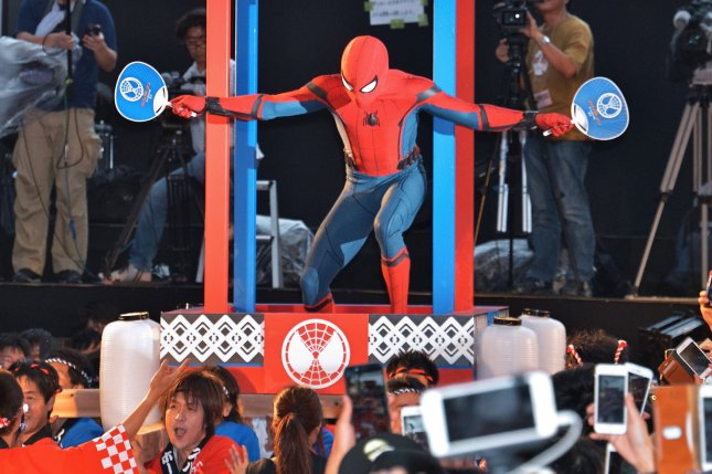 A man dressed as Spider-man performs during the Japan premiere for the film Spider-Man: Homecoming in Tokyo on August 7, 2017. Steve Ditko, co-creator of the iconic, comic-book character, has died at the age of 90. File Photo by Keizo Mori/UPI