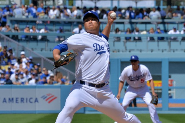 Los Angeles Dodgers starting pitcher Hyun-Jin Ryu pitched eight innings of one-hit ball against the Nationals Sunday. File Photo by Jim Ruymen/UPI