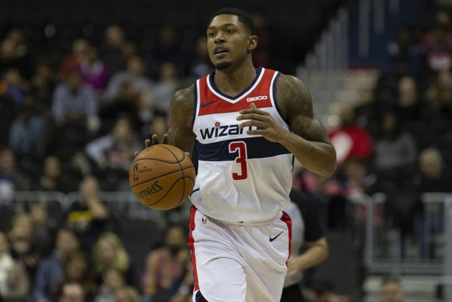 Washington Wizards guard Bradley Beal is eligible to sign a three-year, $111 million max contract extension Friday. File Photo by Alex Edelman/UPI