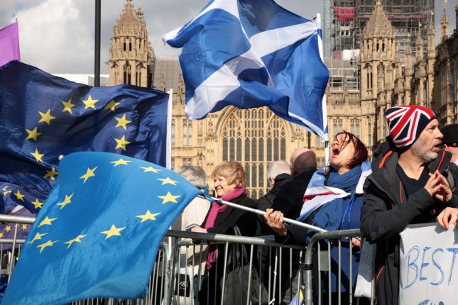 Pro-EU protesters demonstrate outside the Houses of Parliament in London on March 14. File Photo by Hugo Philpott/UPI