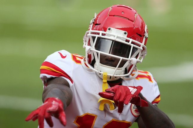 Kansas City Chiefs wide receiver Tyreek Hill left Sunday's game against the Jacksonville Jaguars after being tackled by cornerback Jalen Ramsey. File Photo by Aaron Josefczyk/UPI