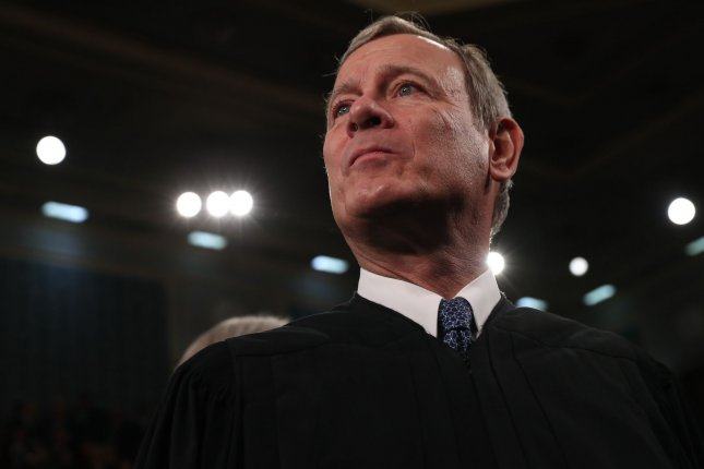 U.S. Supreme Court Chief Justice John Roberts was hospitalized last month with a head injury following a fall while taking a walk for exercise. Pool Photo by Leah Millis/UPI