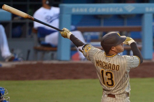 San Diego Padres slugger Manny Machado went 2 for 4 with four RBIs and a run scored in a win against the Los Angeles Dodgers Tuesday in Los Angeles. Photo by Jim Ruymen/UPI