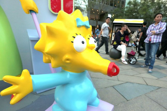 The Simpsons store is promoted at an international fashion mall in Beijing on May 6, 2016. On December 17, 1989, The Simpsons, which began as a feature of The Tracy Ullman Show, had its first stand-alone episode broadcast. File Photo by Stephen Shaver/UPI
