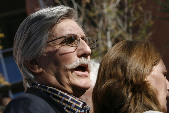 Fred Goldman, father of Ron Goldman, speaks to reporters, as Ron Goldman's sister Kim Goldman listens, after O.J. Simpson's sentencing at the Clark County Regional Justice Center in Las Vegas, Nevada on December 5,.2008. (UPI Photo/Isaac Brekken/POOL)
