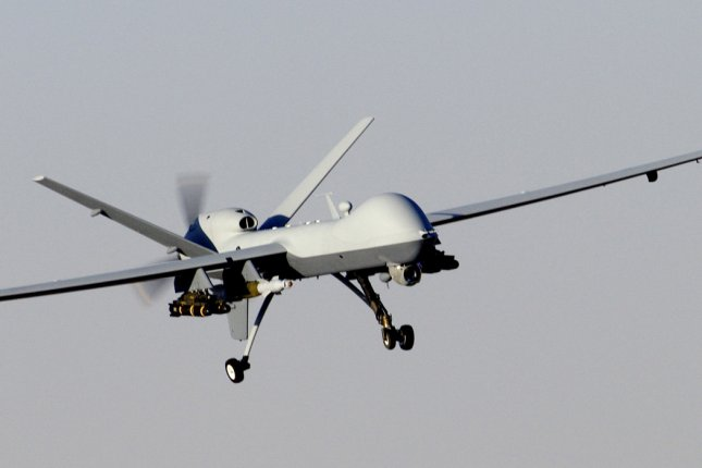 An Air Force MQ-9 Reaper unmanned aerial attack vehicle prepares to land after a mission in support of Operation Enduring Freedom in Afghanistan on November 27, 2009. On February 6, 2016, Afghan officials said a U.S. drone strike killed 16 Islamic State militants near the Pakistani border in the Achin district of Afghanistan's Nangarhar province. UPI/Brian Ferguson/U.S. Air Force