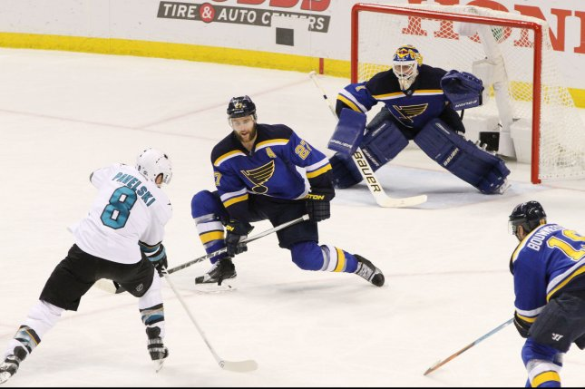 St. Louis Blues goaltender Brian Elliott looks to stop a shot from San Jose Sharks Joe Pavelski in the third period at the Scottrade Center in St. Louis on May 17, 2016. The Sharks shutout the Blues 4-0. Photo by Robert Cornforth/UPI