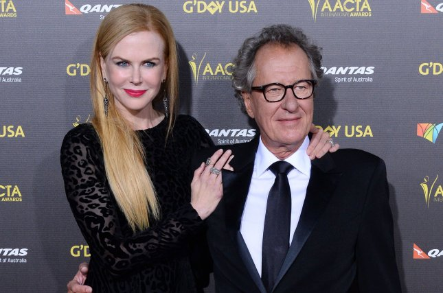 Geoffrey Rush, pictured here with Nicole Kidman in 2015, has stepped down as president of the Australian Academy Cinema Television Arts. File Photo by Jim Ruymen/UPI