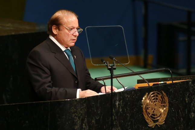 Then-Prime Minister Nawaz Sharif addresses the United Nations General Assembly in New York City on September 21, 2016. Sharif was arrested in Lahore, Pakistan, on Friday. File Photo by Monika Graff/UPI