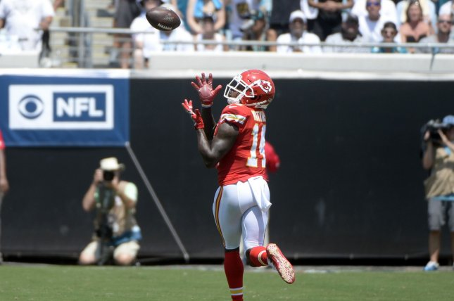 Kansas City Chiefs wide receiver Sammy Watkins stepped in for a game-high 198 receiving yards and three touchdowns in Week 1 after star pass-catcher Tyreek Hill left the game early with an injury. Photo by Joe Marino/UPI