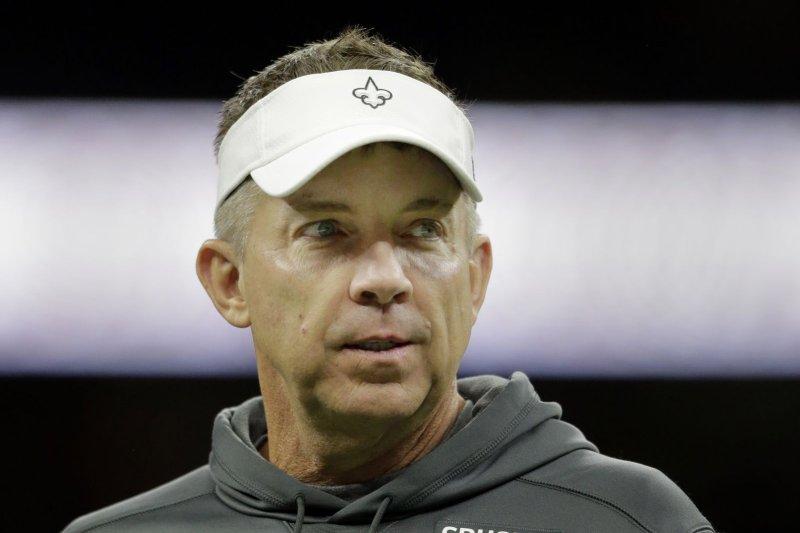 New Orleans Saints head coach Sean Payton said he began feeling symptoms last weekend and took a test Monday. File Photo by AJ Sisco/UPI