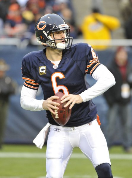 Chicago Bears quarterback Jay Cutler (6) drops back to pass during the first quarter against the San Diego Chargers at Soldier Field on November 20, 2011 in Chicago. Cutler and running back Matt Forte were placed on the injured reserve list Tuesday and will miss Sunday's Vikings game in Minnesota. UPI/Brian Kersey