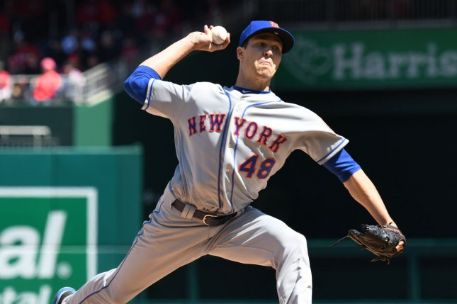 New York Mets starting pitcher Jacob deGrom makes a delivery in the first inning against the Washington Nationals on April 5, 2018 at Nationals Park in Washington, D.C. Photo by Pat Benic/UPI
