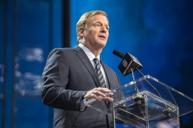 NFL commissioner Roger Goodell announces the start of the 2018 NFL Draft on April 26 at AT&T Stadium in Arlington, Texas. Photo by Sergio Flores/UPI