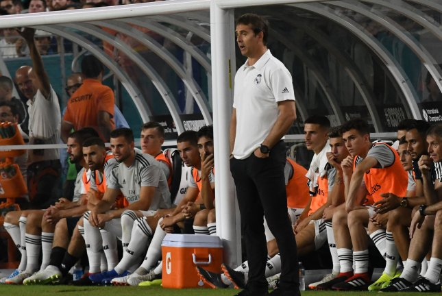 Former Real Madrid manager Julen Lopetegui watches play in the first half of the International Champions Cup on July 31 at Hard Rock Stadium in Miami. Photo by Gary I. Rothstein/UPI